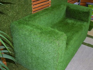 Artificial grass covered 2 seat sofa